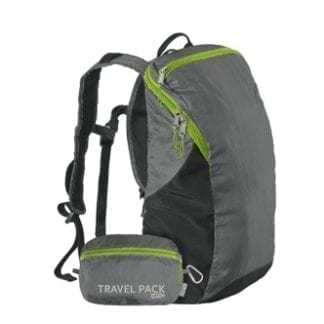 Environmentally friendly Chico Bags brand recycled plastics collapsible travel pack with display of fully collapsed bag positioned at the base of vertically displayed bag.