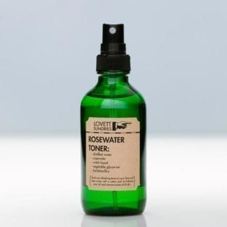 Lovett Sundries brand rosewater face toner with spray pump; a pH balancing product made from five natural ingredients