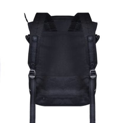 Backside display of sustainable Sherpani brand Camden recycled fabric raven black convertible backpack bag in backpack position featuring black adjustable shoulder straps.