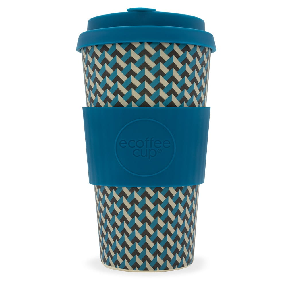 Sustainable E-Coffee Cup brand 16 ounce bamboo fibre plastic fee Nathan Road reusable cup. Pictured with lid and warmer sleeve.