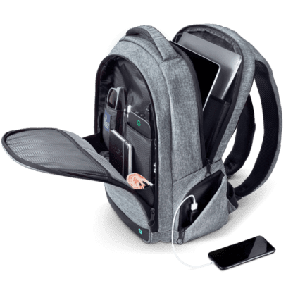 Side angle interior view of organization compartments inside eco friendly Solgaard brand charcoal Lifepack Lite Everyday Backpack made from recycled ocean plastics.