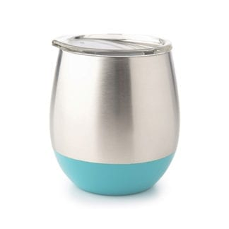 Environmentally friendly U- Konserve brand insulated stainless steel cup with lid and turquoise accent