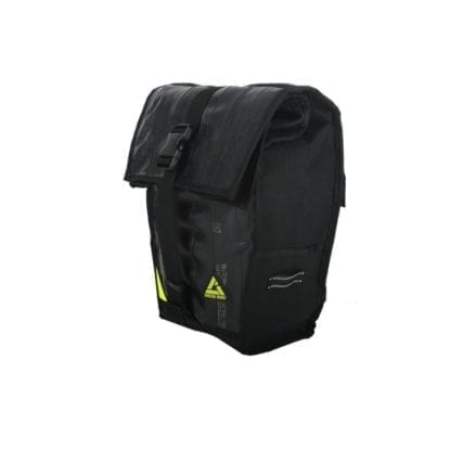 Side angle display of black High Roller 36 liter backpack convertible pannier made with inner tubes and other upcycled materials, made by sustainable Green Guru Gear brand.