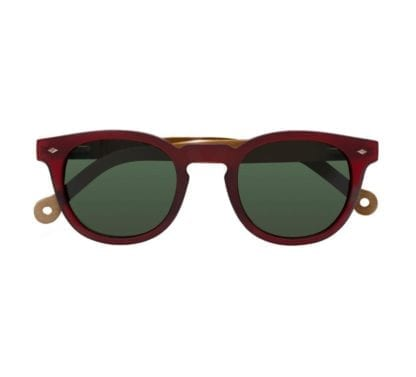 Front view of earth friendly Parafina Cala sunglasses in ruby volcano red