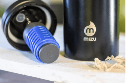 Mizu brand wide mouth stainless steel water bottle in black; comes with water purifier that filters out 99.999% of harmful contaminants