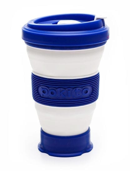 Pokito brand blue and white collapsible and reusable pocket sized cup fully extended to grande size.