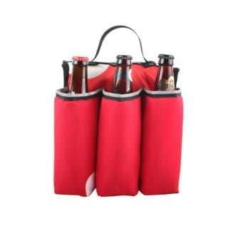 Eco friendly Green Guru Gear brand Sixer 6-pack Top Tube Holder, loaded up with bottle brews, made from upcycled bicycle inner tubes, repurposed nylon fabric, and 18oz vinyl waterproof tarp.   Pictured is a red, black, and white color pattern with black handle.