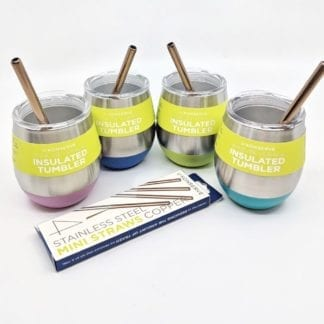 U-Konserve brand Happy Earth Happy Hour kit on display.  Kit comes with four insulated stainless drink tumblers in pink, turquoise, marine blue, and lime. Also included is a set of four reusable stainless steel mini straws with copper color displayed inside tumbler.