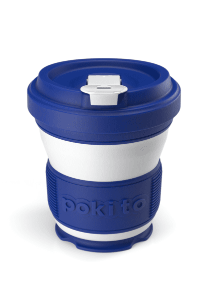 Pokito brand blue and white striped collapsible and reusable pocket-sized cup partially extended.