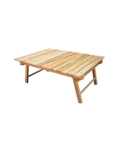 Earth friendly Blue Ridge Chairs brand American ash foldable Carolina snack table in ready to use position.