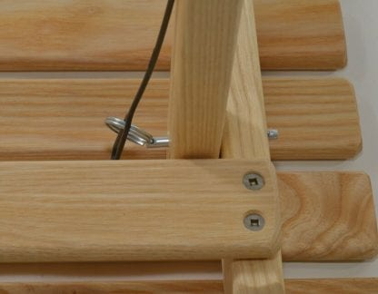 Close up display of pin used to put together eco friendly Blue Ridge Chairs brand American ash Blue Ridge Carolina snack table.
