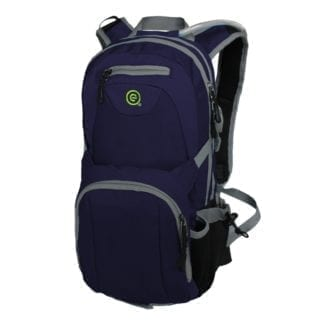 Front display of eco friendly EcoGear Products brand recycled plastic blue Waterdog two liter hydration pack with several pockets and storage compartments with adjustable straps.