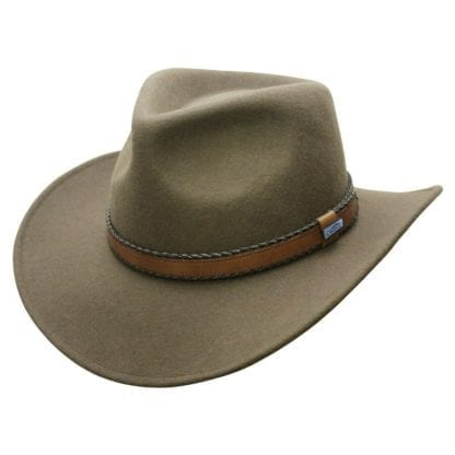 Sustainable cruelty free Conner Hats Outback Creek Wool Hat in loden green color.