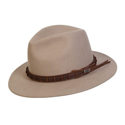 Sustainable eco friendly Conner Hats brand, Wide Open Spaces cruelty free wool outdoor hat in putty color with brown leather accent ring.