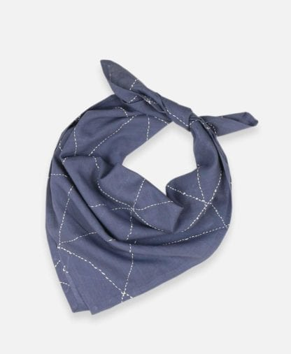 Product display of reusable green fair trade organic cotton bandana loosely tied, made by Anchal brand in slate color with graph pattern.