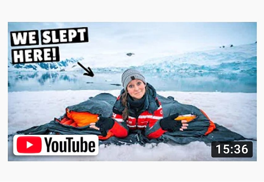 Title card of Kara and Nate YouTube travel vlog in Antarctica