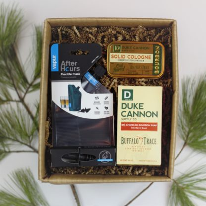 Zero waste gift box set with flask, Bourbon solid cologne tin and soap