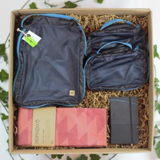 Gift box set with recycled travel towel, packing cubes and passport holder