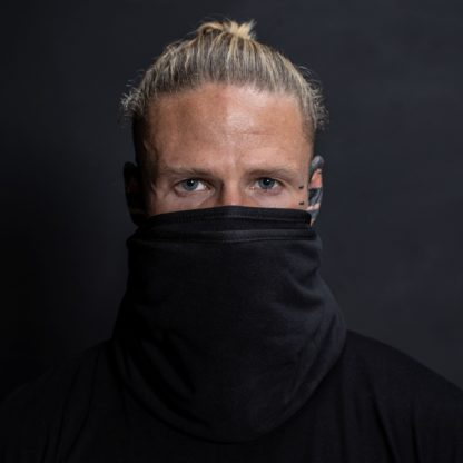 Male wearing black air filtration recycled bioscarf to replace N95 mask