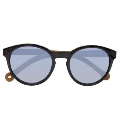 Front view of the recycled Parafina Costa sunglasses with black frames and bamboo rods.