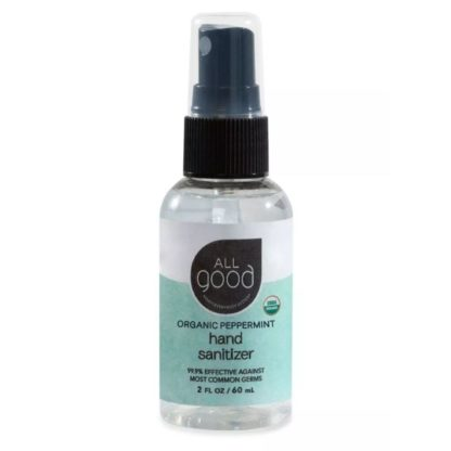 All Good Organic Peppermint Hand Sanitizer comes in a 2 fl oz travel size bottle with spray applicator.